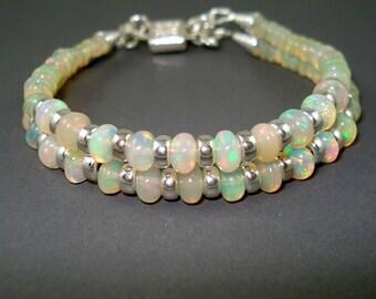 Opal Bracelet Fire Opal and Sterling Silver Rondelles Double Strand Bracelet OOAK Handmade Opal Jewelry