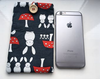 Bunny rabbit iPhone/Samsung fabric padded gadget case/sleeve/cover/pouch, navy bunny rabbit and toadstool with red & white polka dot lining.