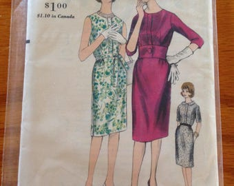Vogue Vintage 5394 Dress Sewing Pattern Jackie Kennedy Pinup Style Wiggle Dress Wide Waistband Pencil skirt size 16