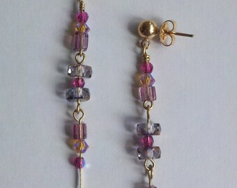 Pink Crystal Cube and Stacked Glass Rondel Drop Earrings Gold Filled Wire