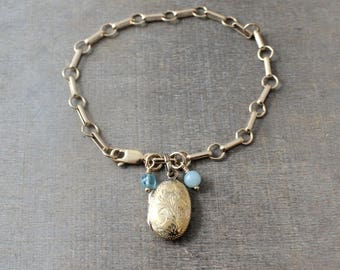 Gold Locket Bracelet, Tiny Gold Locket, Chunky Gold Chain, Bridal Bracelet, Chunky Chain, Wedding Locket,  Gold Oval Locket, Something Blue