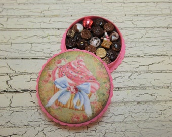Dollhouse Miniature Box of Chocolates 12th Scale Cupcakes Polymer Clay
