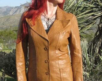 Buttery Soft Caramel VINTAGE Leather Jacket/Blazer S - Wide Lapels