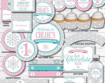 Winter Onederland Decorations - Girl Birthday - Winter Wonderland Birthday Decorations - DIY Printable