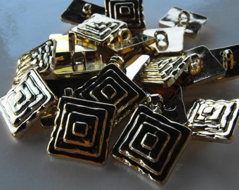 """20 Gold 4 Squared Shank Buttons Size 11/16"""""""