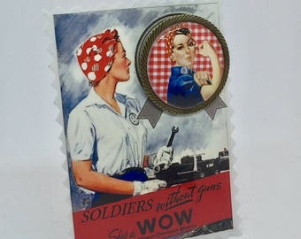 "Rosie the Riveter ""vichy"" brooch"