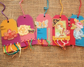 Gift Tags Set of 5 in Bright Colors