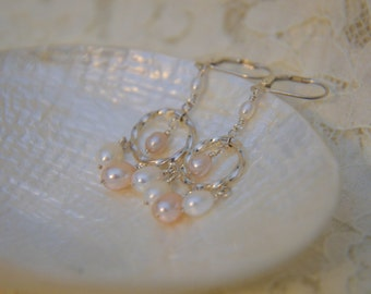 Pearl Chandelier Wedding Earrings with Sterling Hoops in White and Pink