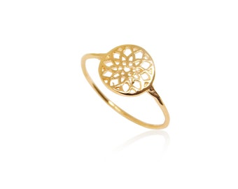 Silver Flower Ring, Gold Vermeil Ring, Dream Catcher Ring, Mandala Ring, Gold Circle Rings, Wholesale Ring, Fashion Jewelry Ring