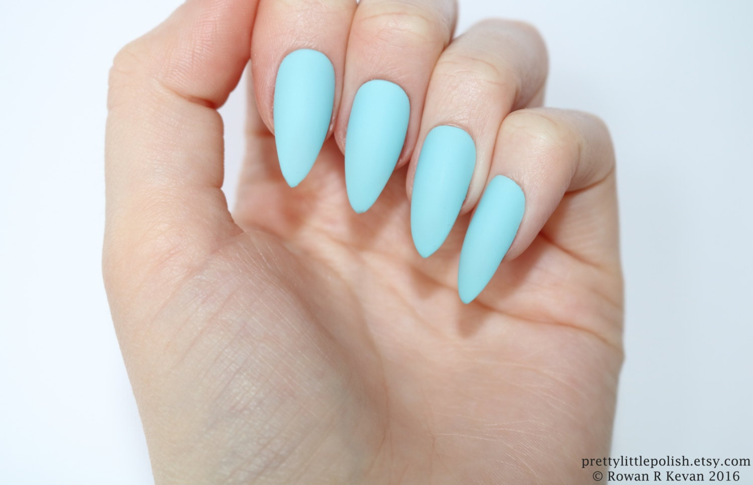 Stiletto nails, Matte light blue stiletto nails, Fake nails, Press ...