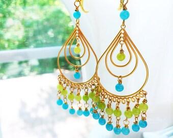 Jade Chandelier Earrings Blue Green Bollywood by MinouBazaar