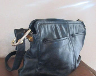 Vintage 1980's Black Leather Handbag MADE IN USA By 'Palazzio' - Lovely!!
