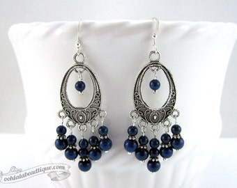 Lapis lazuli chandelier earrings, blue earrings, birthstone jewelry, gypsy earrings, hippie earrings, bohemian earrings, navy blue dangles