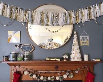 Original Gold and Silver Party Garland, String of Circles, Holiday Garland