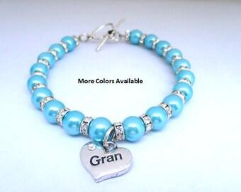 Gran perle et cristal strass breloque Bracelet-Gran Gran-cadeau cadeau-Gran bracelet-Gran Gran-Bijoux-mariage fête cadeaux d'anniversaire-mariage, B290