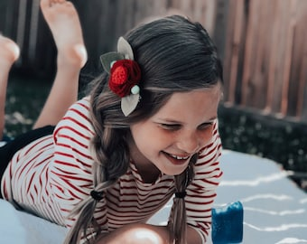 Felt Flower Headband or Alligator Clip //  Sailor Red Nautical, Giddyupandgrow
