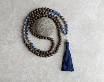 Mala Beads - Blue Sodalite with Fossil Coral and Gray Wood - Tassel Necklace - Item # 716