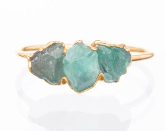 Triple Emerald Ring, Gold Ring, Raw Emerald Ring, Raw Stone Ring, May Birthstone Ring, Gemstone Ring, Raw Crystal Ring, Delicate Ring, Boho
