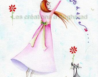 Romantic watercolor for room decoration
