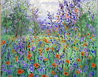 Original oil painting  - California Springtime Poppies and Wild  Iris -Vadal - 20 x 20