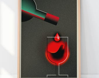 Art Print wine Art Deco style