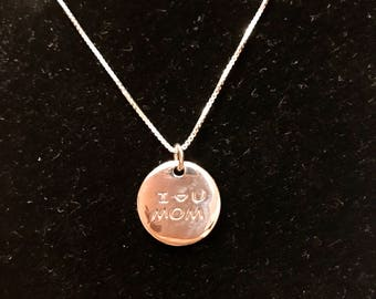I Love you MOM Sterling silver pandand necklace