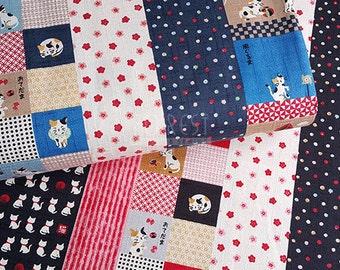 Kokka dobby cats japanese style fabric -50cm