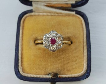 SALE - Art deco diamond and Ruby 18k Gold and Platinum ring - engagement ring - vintage engagement ring- art deco engagement ring