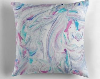 decorative pillow- marble pattern design-pink-blue-white-dorm room decor-home decor-bed decor-artist designed home decor-pillow cover