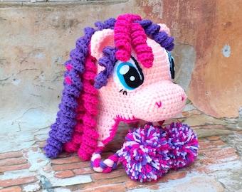 Crochet pony hat.Pink purple pony hat.