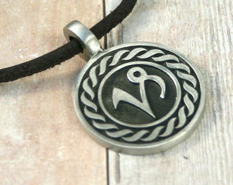 Leather Surfer Necklace Ancient Zodiac CAPRICORN Distresed Cord