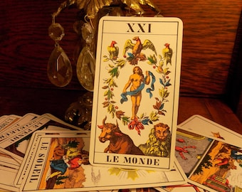 Sale TAROT rare vintage tarot cards Kaplan 78 FORTUNE TELLINGLY metaphysical new age spooky antique Tarot cards spooky card etsy