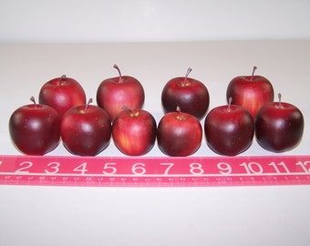 """10 Small Decorative Red Apples Hollow Plastic Fruit 2"""", 1 3/4"""", and 1 1/2"""""""