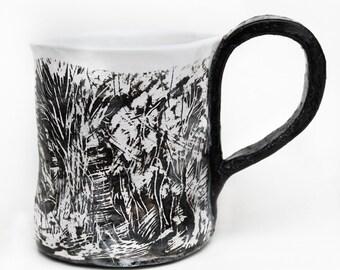 Ceramic Coffee Mug, Handbuilt ceramic mug black and white, sgraffito carved pottery mug