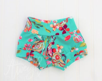 Teal Flora Shorties