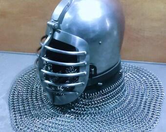 Buhurt Helmet, Riddars Hjälmt, Medieval Buhurt, 中世の鎧, Head Protection Helmet,  Knight's Helmet, Reconstruction Helmet, HMB-IMCF-SCA Helmet,