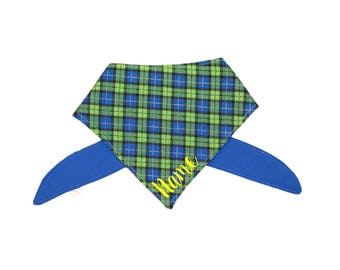 Green, Yellow, Blue Plaid Bandana (Personalization Optional- read item details)