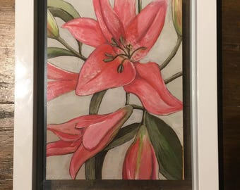 Lilies - larger print in a floating frame