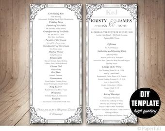 DIY Wedding Program Template,Silver Wedding,Elegant Wedding Program,Silver Wedding Program,Grey Wedding Program
