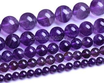 Natural Purple Amethyst Gemstone Beads, 6mm 8mm 10mm 12mm Round Amethyst Crystal Birsthstone Beads (B72)