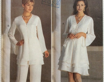 1990s front buttoned tunic skirt and pants Butterick 3685 Uncut sewing pattern Designer Chetta B Bust 34 36 & 38 Retro 90s boho resort style