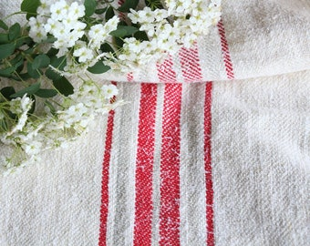 FP 548: antique handloomed, STRAWBERRY RED Ice Grey, 47.24 inches long, upholstery project, old linen fabric,vintage linen, do it yourself