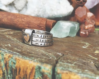 Rustic Bound by love... oxidized sterling silver and gold filled stacking rings with heart ...hand stamped fine silver stacking rings.