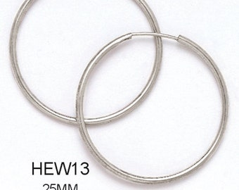 14k Solid White Gold Hoop Earrings (Available in Multiple Sizes)