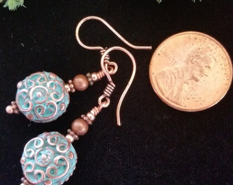 Very Unique Green Patina Copper Greek Casting Earrings