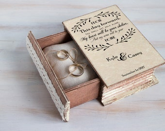 Rustic Wedding Ring Box Personalized Ring Bearer Box Wedding