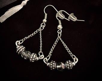 Chandelier Beaded Silver Earrings