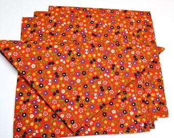 Napkins Floral Pattern on Orange Cotton Set of 4
