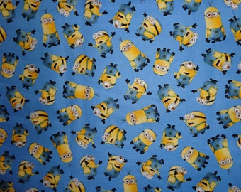 Blue Minion Toss Cotton Fabric by the Yard