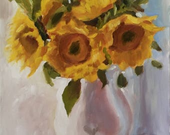 "Original Sunflower Oil Painting, Farm Art, 12""x9"""